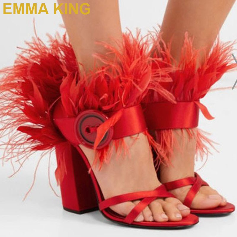 Fashion Red Feather Sandals Ankle Buckled Women Sandals Chunky High Heels Sexy Ladies Summer Shoes T Show Party Sandals 35-41