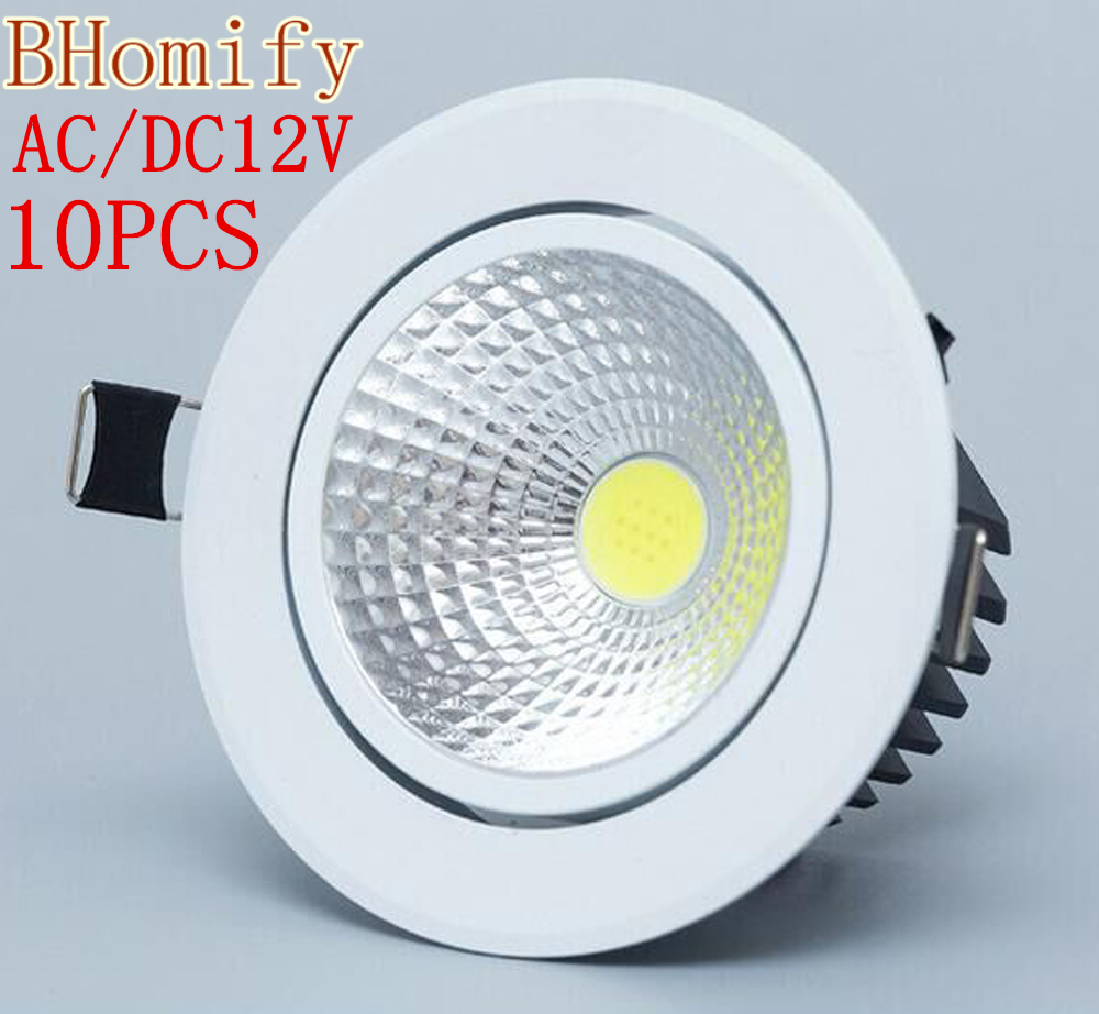 10PCS Dimmable <font><b>Led</b></font> downlight light COB Ceiling <font><b>Spot</b></font> Light 3w <font><b>5w</b></font> 7w 12w AC/DC12V ceiling recessed Lights Indoor Lighting image