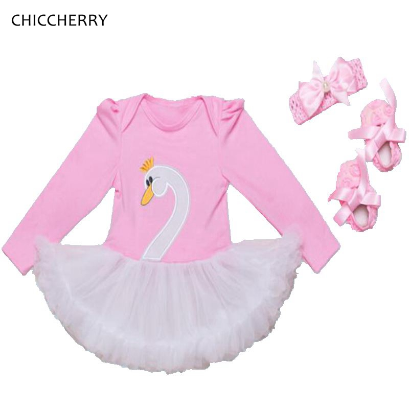 White Swan Long Sleeve Baby Girl Clothes Bebe Lace Romper Dress Headband Crib Shoes Newborn Tutu Sets Toddler Birthday Outfits