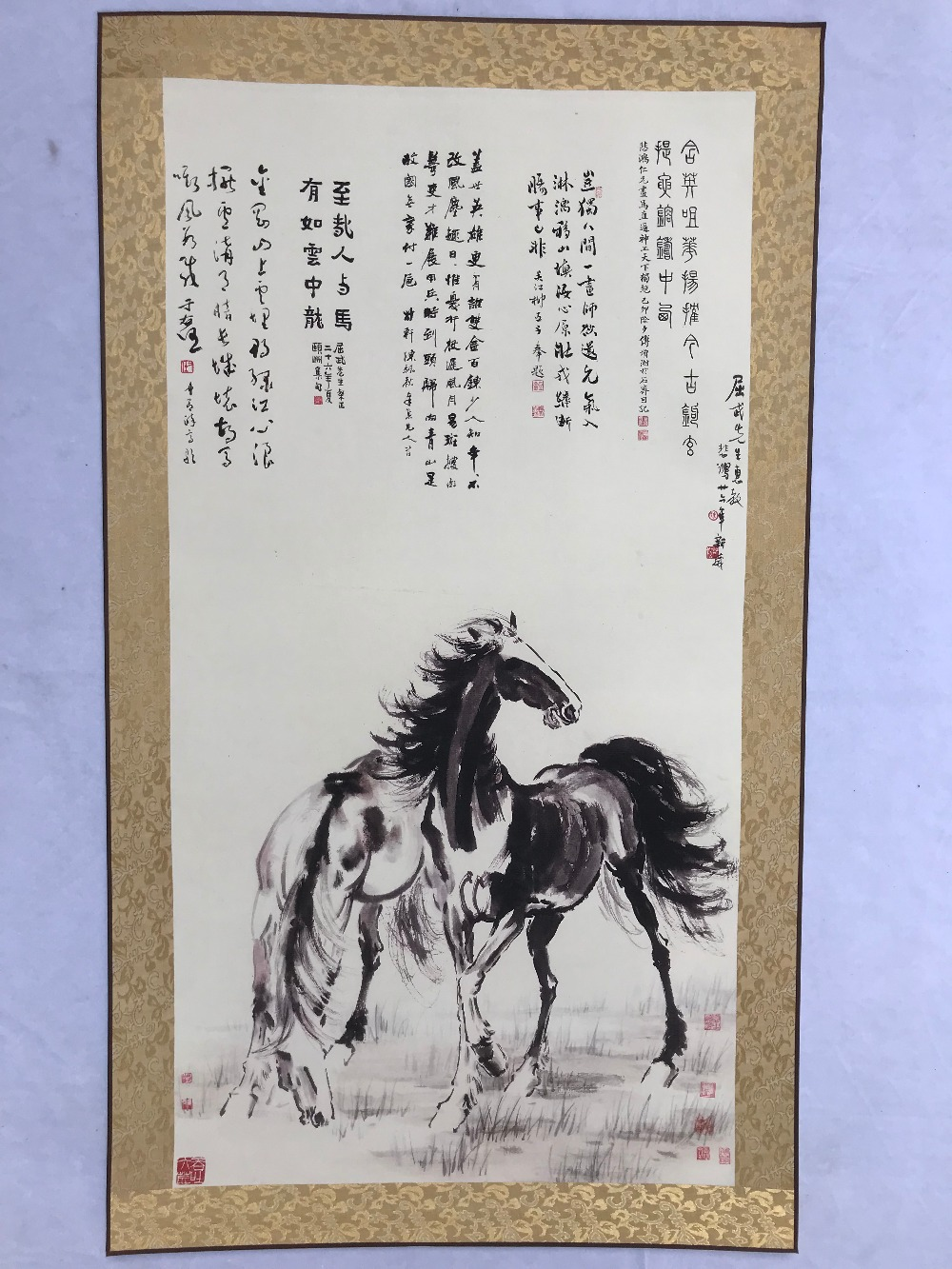 Chinese classical landscape painting scroll Horse drawing