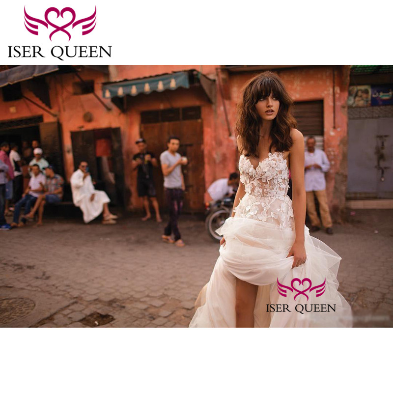 Appliques Sweetheart Neckline Sleeveless Champagne Sexy Backless vestidos de novia boho Tiered Sheer Wedding Gown  w0236