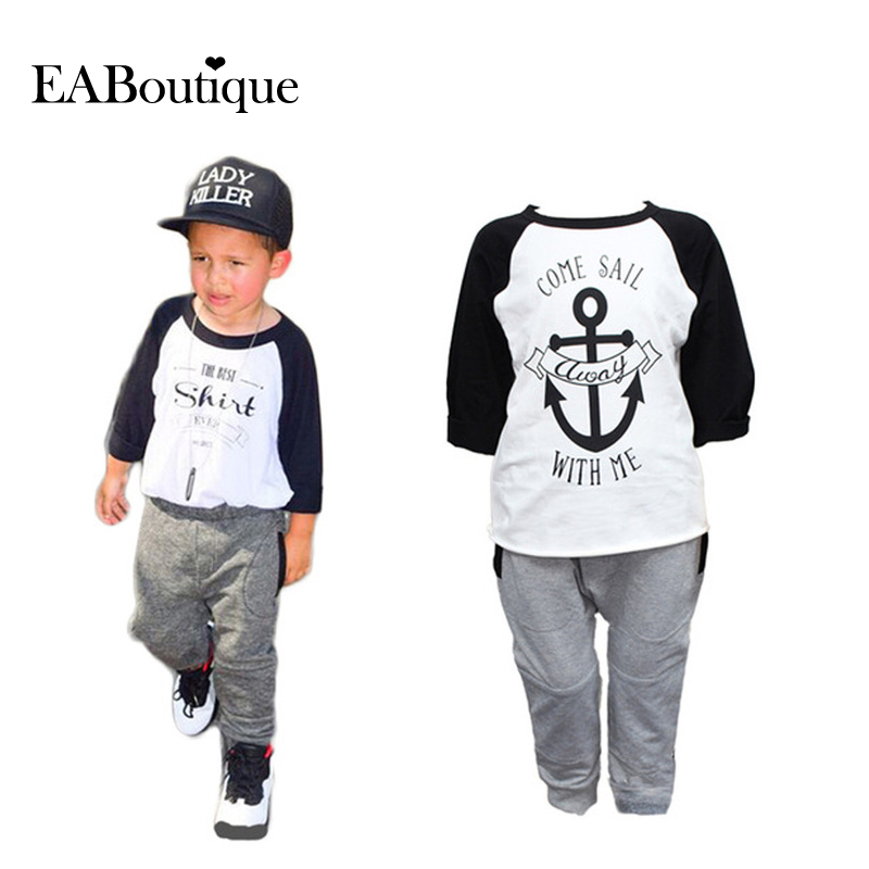 EABoutique  New Winter  boys clothes sports suit fashion letter print cotton baby boy clothing set kids tracksuit
