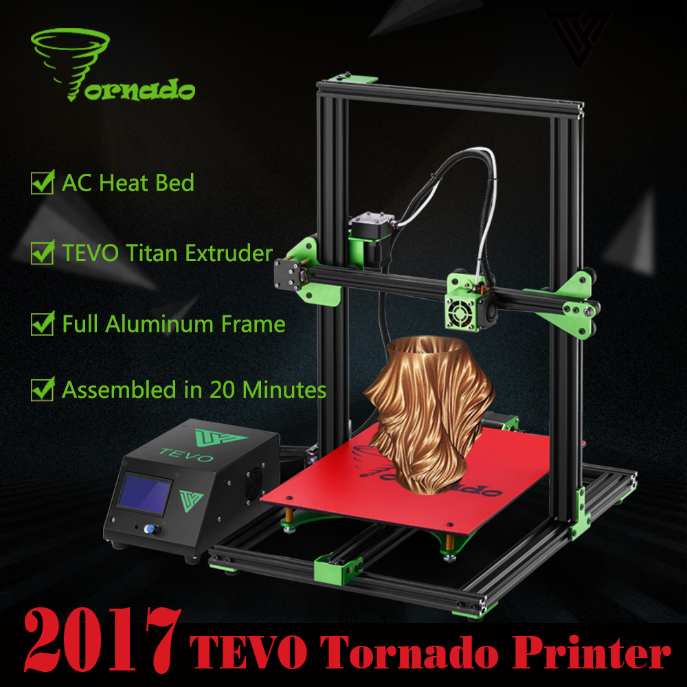 2017 TEVO Tornado 3D Printers Larger Printing Area 3D Printer Kit Assembled Full Aluminum Frame with SD card 3d printer parts 2017 classic tevo tarantula i3 aluminium extrusion 3d printer kit 3d printing 2 roll filament sd card titan extruder as gift