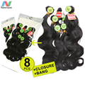 Newness  Peruvian Closure Virgin Hair 100% Unprocessed Human Hair Body Wave with closure Extension Natural Color 8pcs in 1 pack