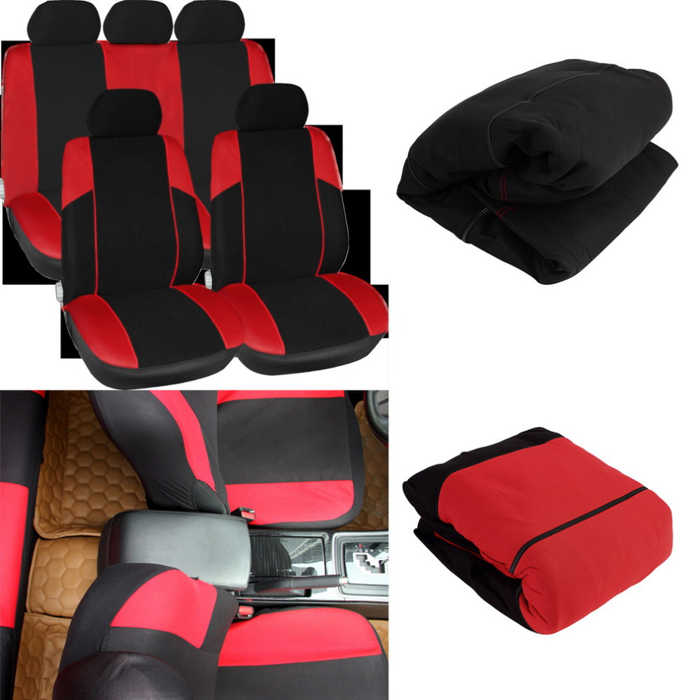 New 11pcs black red car seat covers set seat protector mat pads car care hot selling