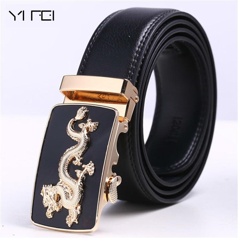 Men Dragon Design Leather Automatic Buckle Casual Waist Strap Belt Waistband