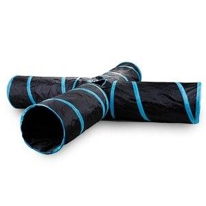 Image 1 - Tubo dobrável do jogo do animal de estimação do túnel do gato com a bola para o gatinho gatos coelhinhos do divertimento 5 buracos brinquedos do animal de estimação