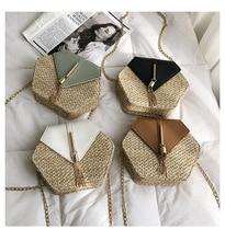 Straw Bag for Women 2019 New Fashion  Pu Leather Handbags Summer Beach Rattan Handmade Woven Circle Handbag Bohemia