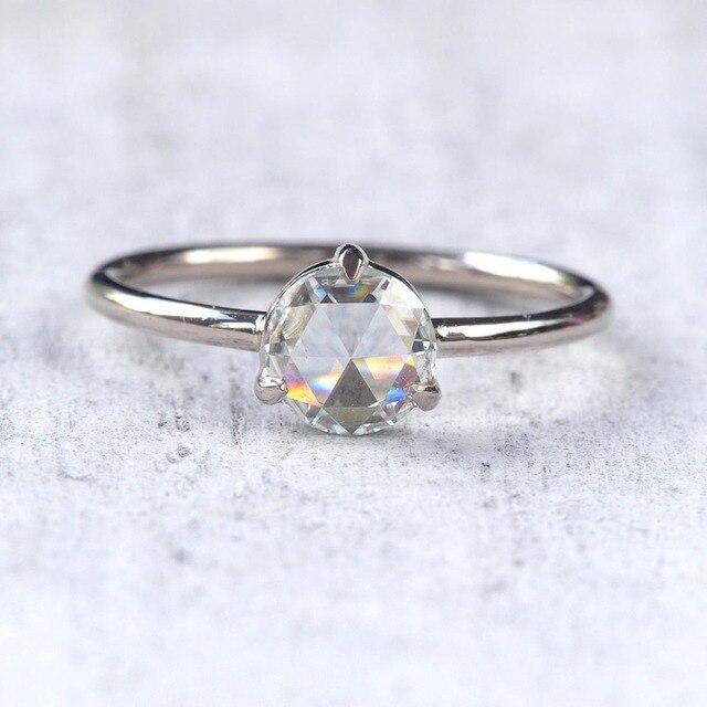 0.87Carat 6.5mm Rose Brilliant Cut DEF Color Moissanite Wedding Ring 18k White Gold For Women Fine Ring 3