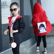Baby Girl Clothes 2018 New Single Breasted Medium and Big Children Both Sides Cartoon Pattern Casual Hooded Coat Windbreaker.