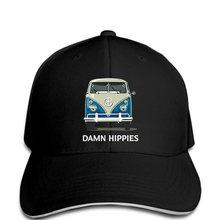 360e929295691c Men Baseball cap Fashion Damn Hippie Flower Power Peace Sign Bus funny Hat  novelty tsnapback women