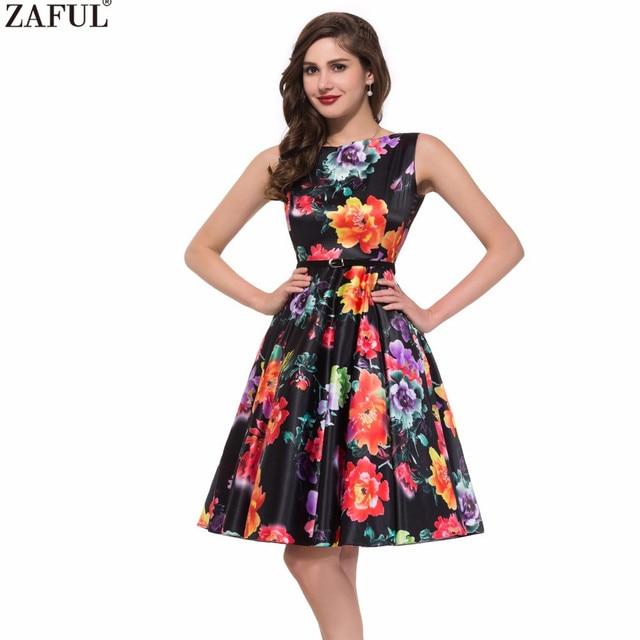 5b068bf4a4 ZAFUL Elegant Style Women 60s Summer Vintage Belts Dress O Neck Sleeveless  Party Feminino Vestidos Cotton