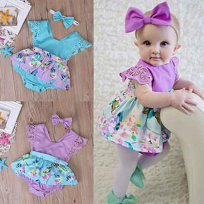 Pudcoco Summer Princess Floral  Romper Dress Baby Girl Clothes Lace Sleeve+Headband 2Pcs Outfits Sunsuit