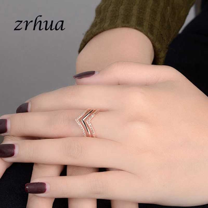 ZRHUA Luxury AAA Zircon แหวน 925 เงินสเตอร์ลิง - เครื่องประดับ ZPromise แต่งงาน Anel Statement Anillos ขายส่ง