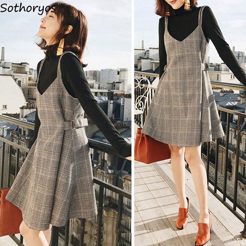 Kleid Frauen A-Line V-ausschnitt Plaid Retro Einfache Allgleiches Elegante Koreanische Damen Kleider Frauen Große Größe Stricken Hohe Qualität