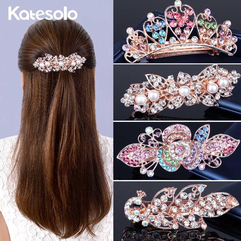 קליפ שיער יהלומים מלאכותיים גביש יוקרה 19 סגנונות ילדה אביזרי שיער חתונה סיכת OL תכשיטי שיער כתר פרחים לנשים