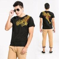 T-Shirt a manica Cotone Design Originale Fiore Del Ricamo di Estate Abbigliamento E Coltiva La Sua Moralità di Svago degli uomini All'ingrosso