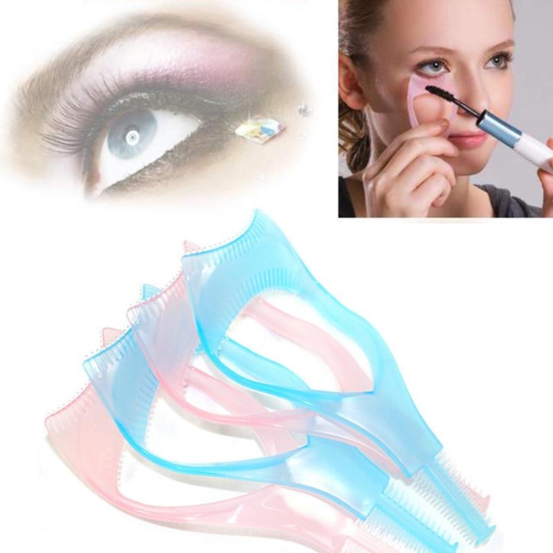 3 in1 Eyelash Brush Curler 1 PCS Mascara Applicator Guide Card Eye Make Up Plastic Tool jS9p