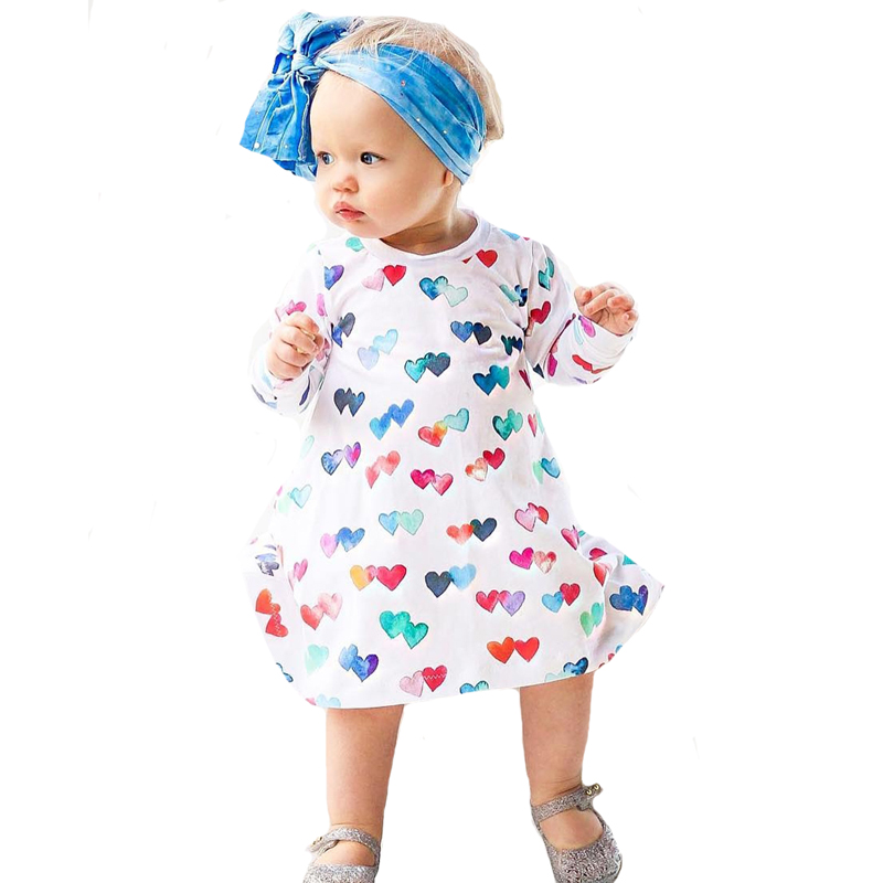 Autumn Kids Girls Dresses Cute Heart Pattern Long-sleeve Toddler Girl Party Dress Baby Clothes Outfits Children Dresses Costume new 2017 baby girls ruffle sweater dress kids long sleeve princess party christmas dresses autumn toddler girl children clothes