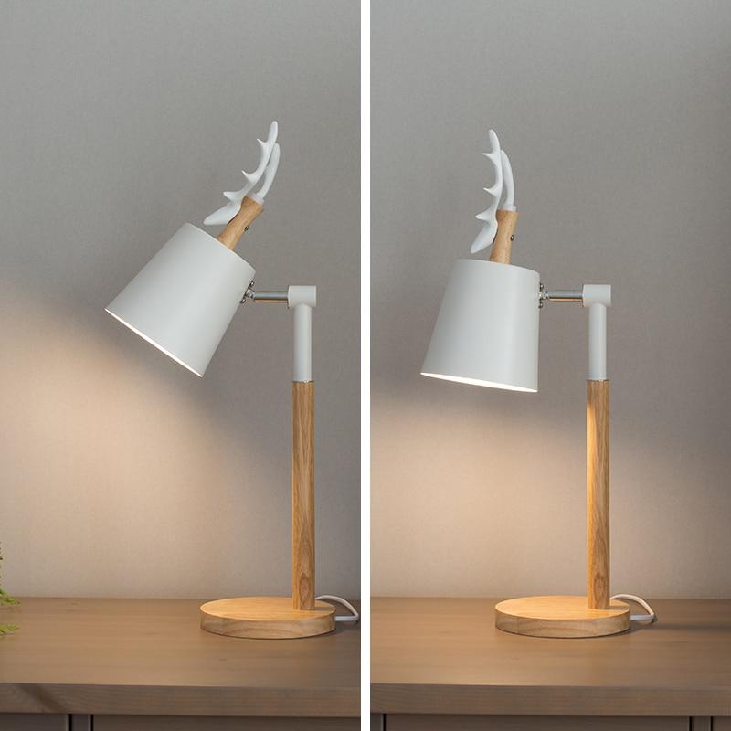 Hotelzimmer Art Deco Deer Tischlampe Abajur Nordic Led holz Tischleuchte Moderne Lesen Einstellbare Hostel Student Deer Schreibtisch lichter - 5