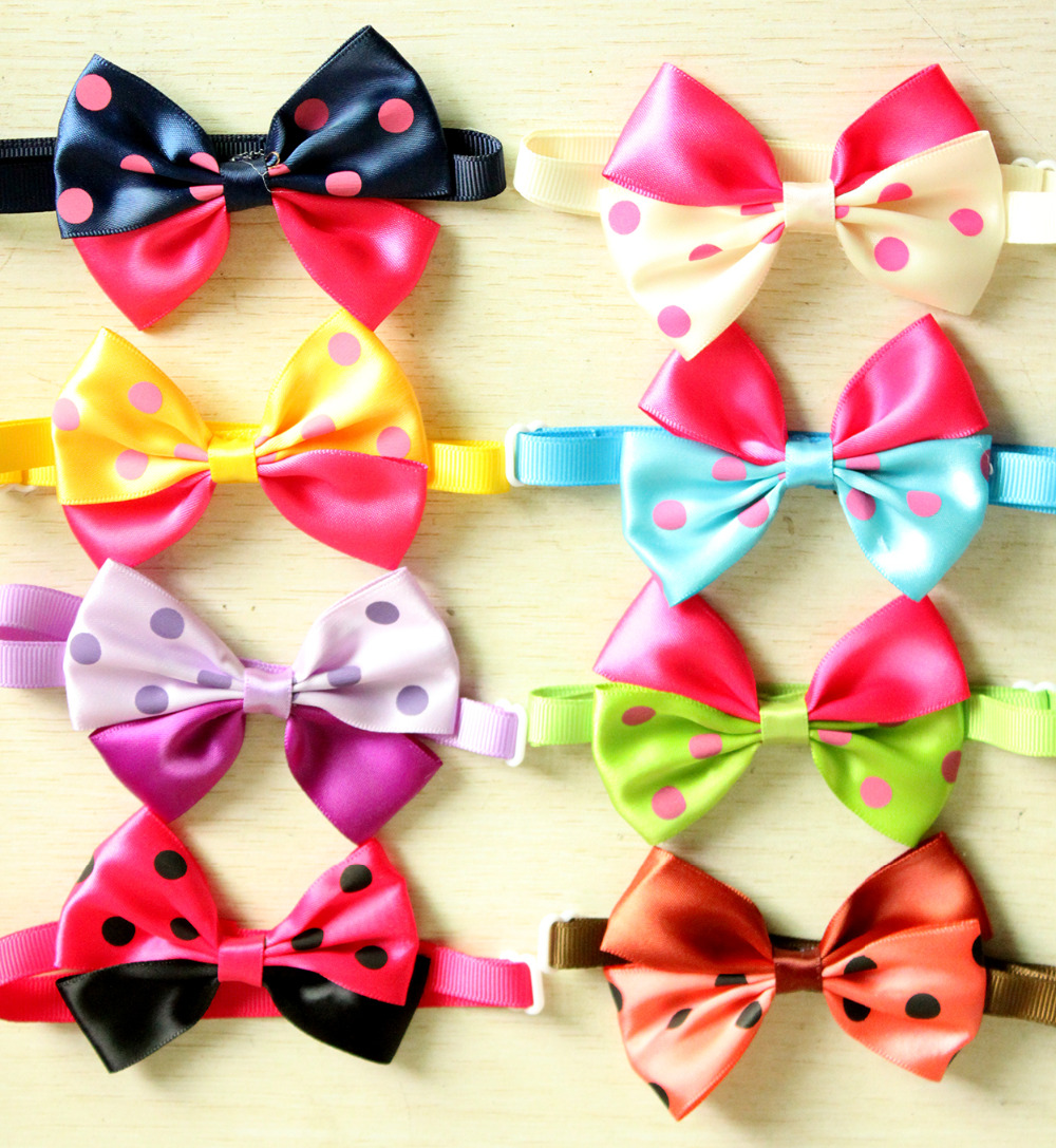 100PC Dog Bowties Dot Pattern Ribbon Pet Cat Bow Tie Pet Pupypy Ties Neck Grooming Accessories