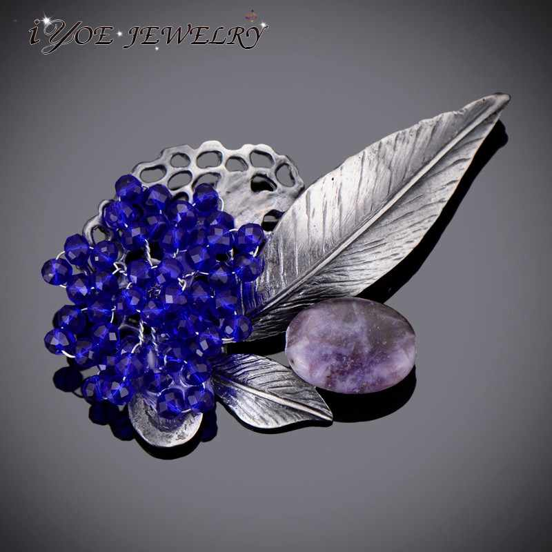 IYOE Modern Style Antique Metal Natural Stone Brooch Pins Accessories Royal Blue Beads Vintage Brooches Women Boho Jewelry