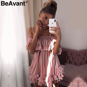 Image 5 - BeAvant Off shoulder strap chiffon summer dresses Women ruffle pleated short dress pink Elegant holiday loose beach mini dress