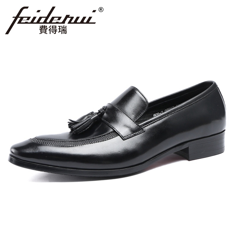 Italian Design Tassels Comfortable Flats Genuine Leather Mens Formal Dress Loafers Pointed Toe Slip on Man Casual Shoes YMX654Italian Design Tassels Comfortable Flats Genuine Leather Mens Formal Dress Loafers Pointed Toe Slip on Man Casual Shoes YMX654