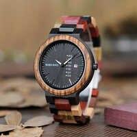ボボ鳥lp14男性腕時計miyato日本ムーブメント木製腕時計でカラフルなウッドストラップクラシック週表示レロジオ