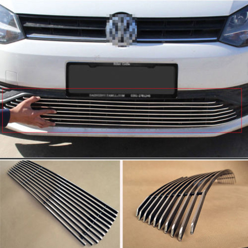 где купить Alloy Aluminium Front Center Racing Mesh Bumper Grills Billet Grille Cover For VW Polo 2014 дешево