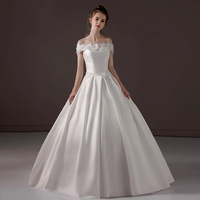 Wedding Party Luxury Applique Lace Flower White Satin Pearl Beading Adjustable Waist Bust Ball Dress Princess Dresses