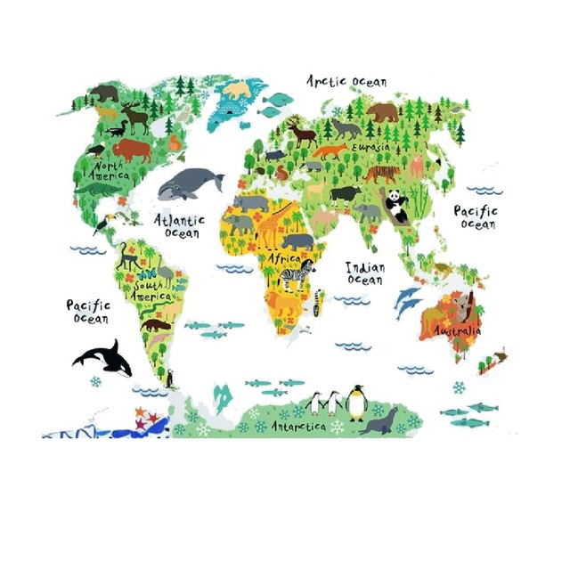 Hot sale removable diy mural wallpaper animal world map wall hot sale removable diy mural wallpaper animal world map wall stickers decal for home decoration free gumiabroncs Image collections