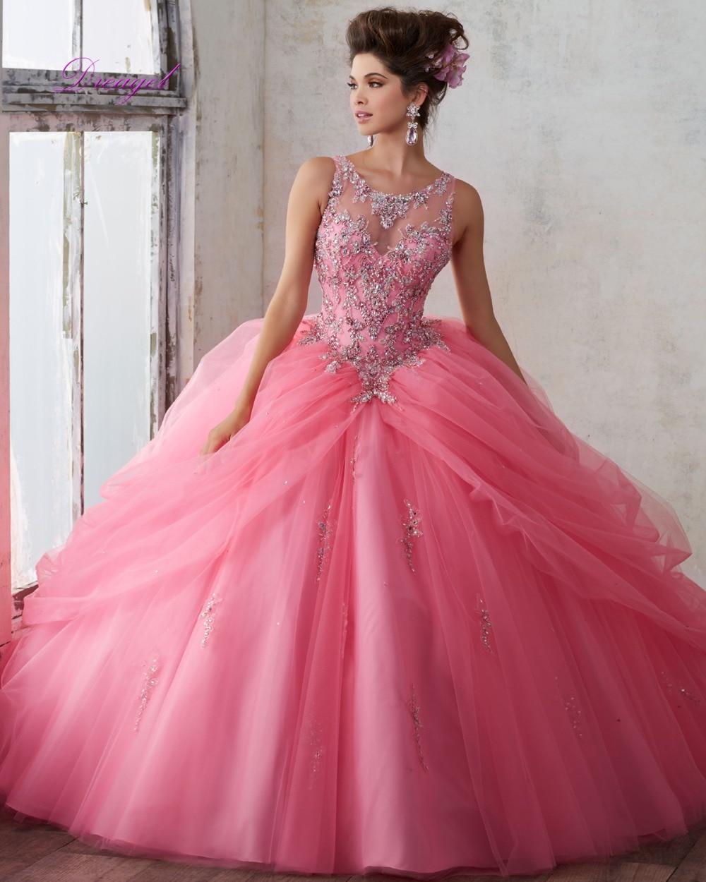 b978c553e0 Dreagel Romántica Princesa Sin Tirantes de Quinceanera del Vestido Vestido  2016 Crystal Lujo Con Cuentas Debutante Vestido Durante 15 Años de La Venta  ...