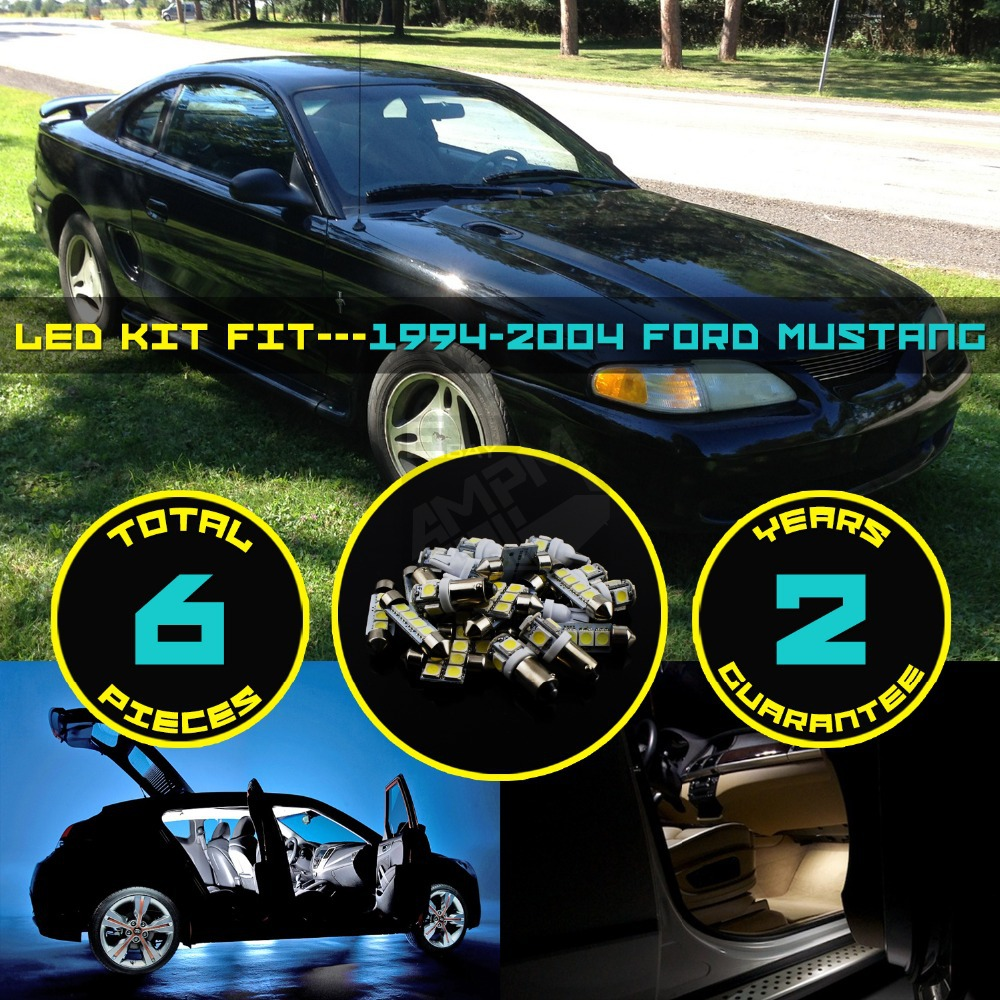 Car interior entertainment - 6x Car Interior Led Kit Roof Dome Map Reading Number License Plate Light For Mustang 1994