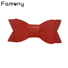 Retail Artificial Leather Hair Bows Solid Bow Knot Clips For Baby Girls Hairgrips Fashion Barrettes Head Band