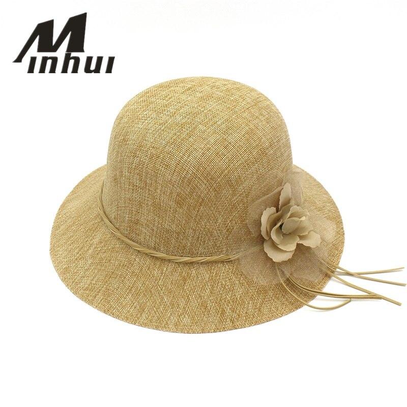 Minhui moda flores Playa Mujeres verano algodón de lino paja chapéu mujeres  Sol sombrero en Sombreros de sol de Accesorios de ropa en AliExpress.com ... 91c95905c45