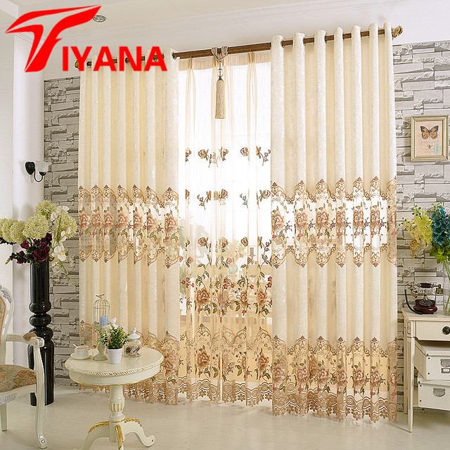 Pastoral Embroidered Curtains For Living Room Bedroom Floral Half Shading  Curtains Window Treatment Drapes Home Decor