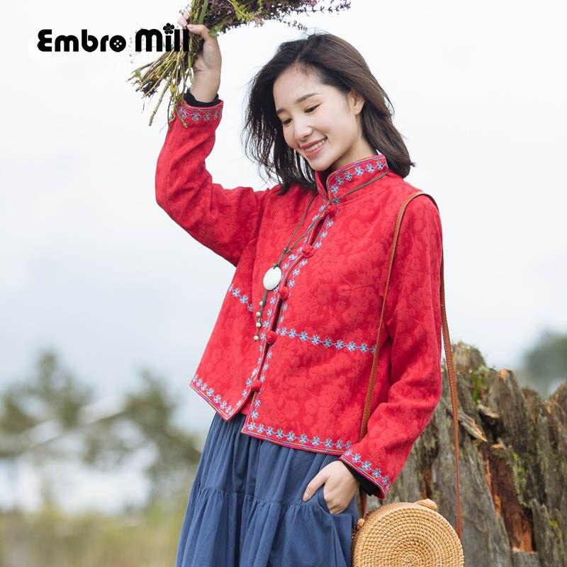 Haut pour femme automne style chinois vintage floral court manteau haut de gamme lâche décontracté dame royal broderie veste manteau femme M-XXL