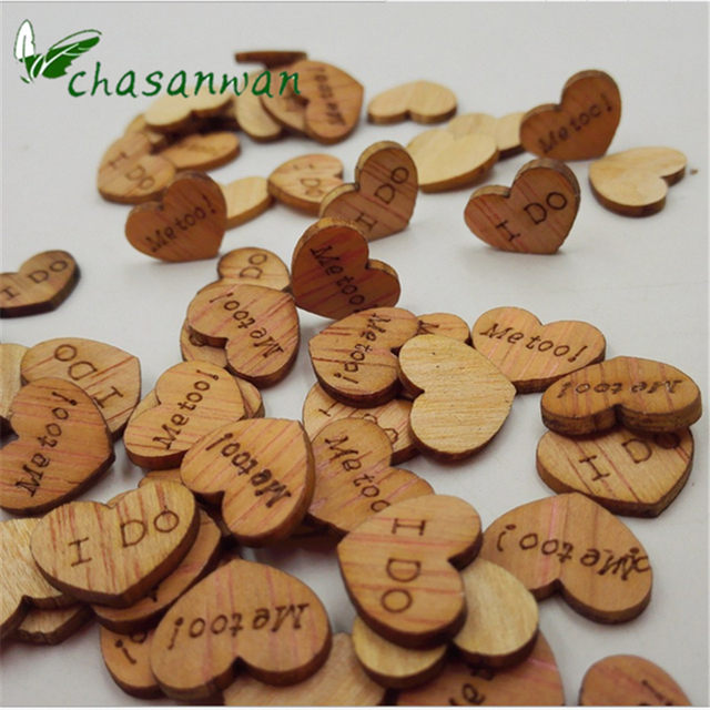 100pcs Mariage Rustic Wooden Love Heart Wedding Table Scatter Decoration Accessories Decorations Casamento Ornaments