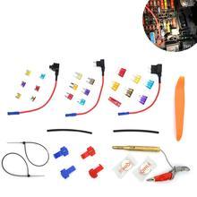 цена на 14pcs 3A 5A 7.5A 10A 15A 20A Car Add-a-circuit Fuse Adapter Blade Fuse Holder GPS Navigator Cigarette Lighter
