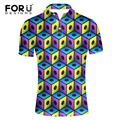 FORUDESIGNS New Men's Tops Polo Shirts Summer Short Sleeve Turn-down Collar 3d Mix-color Slim Fat Fashion Men Polo Shirts Homme