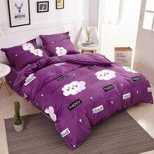 مجموعة مستلزمات سرير للأطفال مكونة من 3/4 قطع من Funbaky أغطية سرير من القطن بلون بنفسجي على شكل سحابة مُزينة بأشكال كرتونية أغطية سرير/أغطية سرير منسوجات منزلية بدون حشو