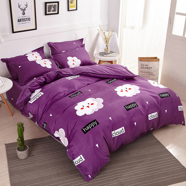 Funbaky 3/4pcs/Set Purple Cartoon Cloud Cotton Comforter Kids Bedding Set Pillowcase/Bed Sets Bed Linen No Filler Home Textile