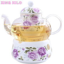 XING KILO Flower tea set Cooked herbal tea, ceramic glass fruit set, candle heater