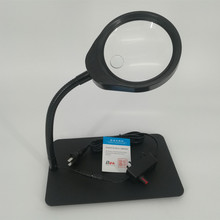 New Lighted Magnifier Desk Table Top LED Lamp Reading 125mm 10X 25mm 20X Large Lens Magnifying Glass with