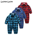 Plaid baby clothes long sleeve lapel baby romper newborn cotton baby costume baby boys newborn clothes