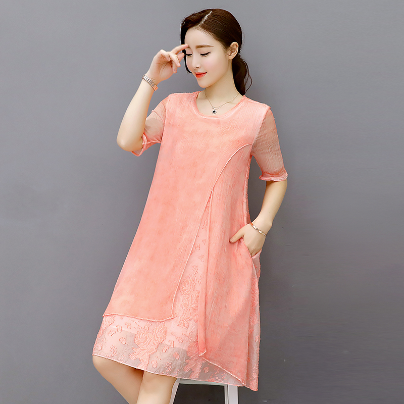 Cool Free Shipping 2018 New Spring Autumn Silk Dress Ladies Temperament Plus Size Casual Woman Fashion Women Clothing Gray Pink
