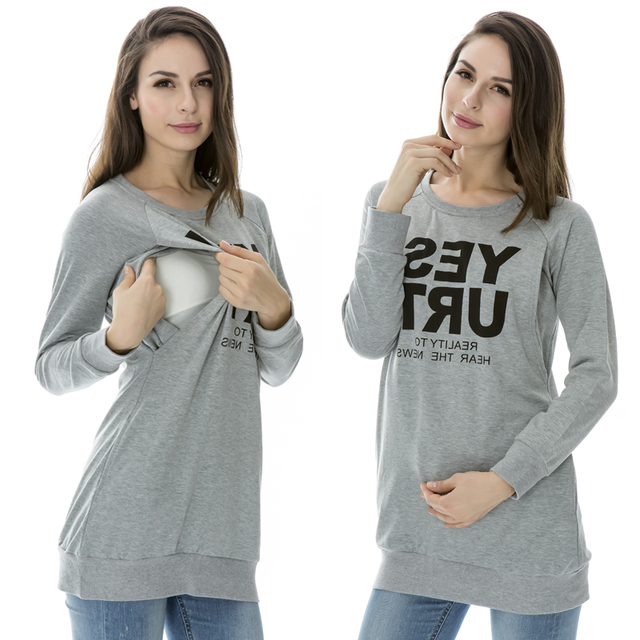 Enfermería cómoda Tops ropa alfabético otoño y el suéter de invierno ropa lactancia materna