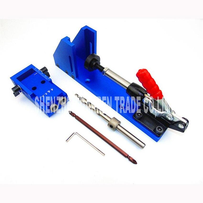 Buraco bolso Sistema de Kit de Reparação de carpintaria Carpinteiro Jig Guia Com Alternância Braçadeira 9.5mm e 3/8 polegadas Broca Passo Bit - 6