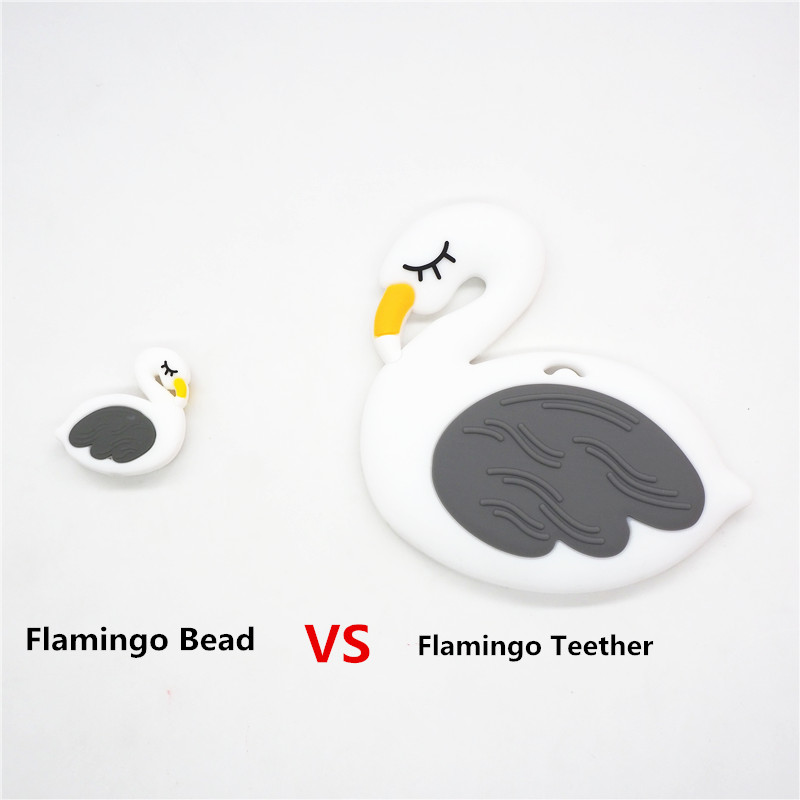 Купить с кэшбэком Chenkai 50PCS Silicone Flamingo Teether Beads DIY Swan Animal Cartoon Baby Chewing Pacifier Dummy Sensory Toy Accessories